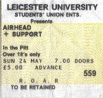 Ticket stub from Leicester university gig (24 May 1992)